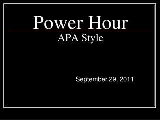 Power Hour APA Style