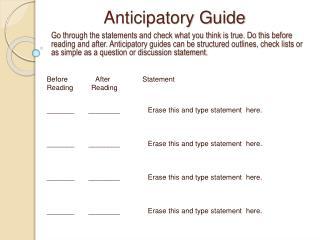 Anticipatory Guide