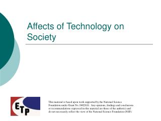 Affects of Technology on Society