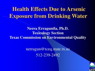 Health Effects Due to Arsenic Exposure from Drinking Water