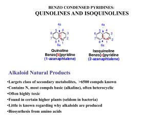 BENZO CONDENSED PYRIDINES:  QUINOLINES AND ISOQUINOLINES