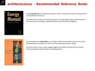 Architectscience    Recommended  Reference  Books