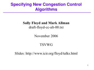 Specifying New Congestion Control Algorithms