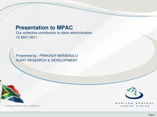 Presentation to MPAC