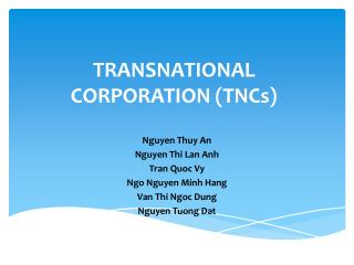 TRANSNATIONAL CORPORATION TNCs