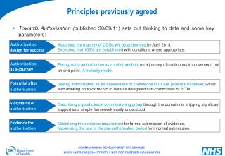 Principles previously agreed