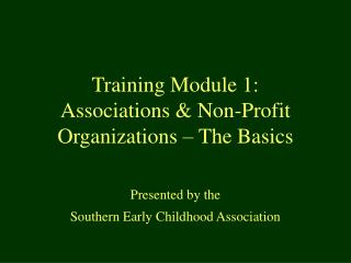 Training Module 1:  Associations  Non-Profit Organizations   The Basics