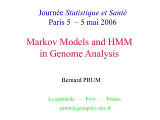 Markov Models and HMM in Genome Analysis