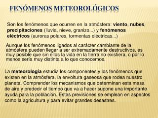 Fen menos Meteorol gicos