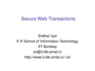 Secure Web Transactions