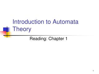 Introduction to Automata Theory