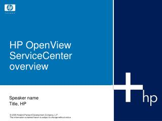 HP OpenView ServiceCenter overview