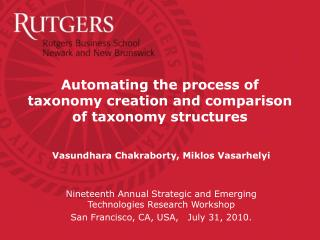 Automating the process of taxonomy creation and comparison of taxonomy structures