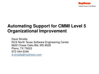 Automating Support for CMMI Level 5 Organizational Improvement