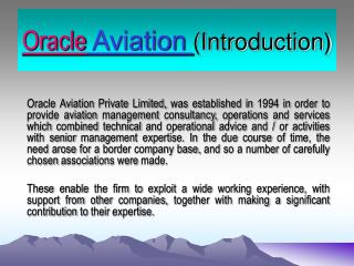 Oracle Aviation Introduction