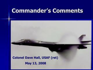 Commander s Comments