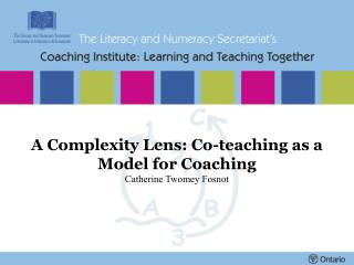 A Complexity Lens: Co-teaching as a Model for Coaching Catherine Twomey Fosnot