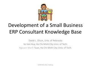 Development of a Small Business ERP Consultant Knowledge Base