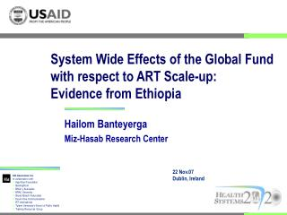 System Wide Effects of the Global Fund with respect to ART Scale-up: Evidence from Ethiopia