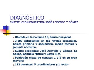 DIAGN STICO INSTITUCION EDUCATIVA JOS  ACEVEDO Y G MEZ