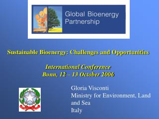 Sustainable Bioenergy: Challenges and Opportunities  International Conference Bonn, 12   13 October 2006