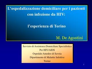 L ospedalizzazione domiciliare per i pazienti  con infezione da HIV:   l esperienza di Torino
