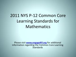 2011 NYS P-12 Common Core Learning Standards for Mathematics