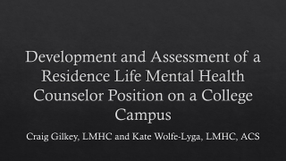 Use of Assessment Procedures in Counseling
