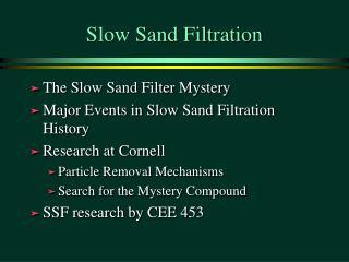 Slow Sand Filtration