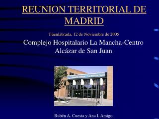 REUNION TERRITORIAL DE MADRID Fuenlabrada, 12 de Noviembre de 2005