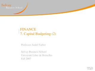 FINANCE 7. Capital Budgeting 2