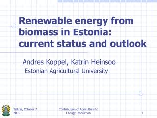 Renewable energy from biomass in Estonia: current status and outlook