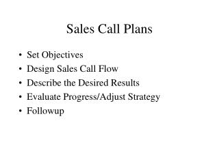 Sales Call Plans