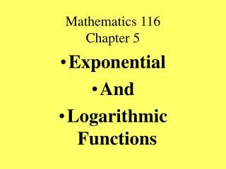 Mathematics 116 Chapter 5