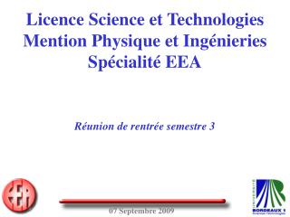 Licence Science et Technologies Mention Physique et Ing nieries Sp cialit  EEA