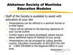 Alzheimer Society of Manitoba Education Modules