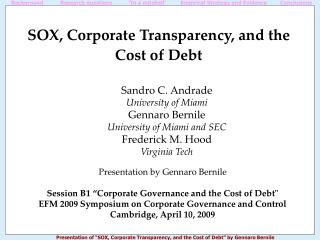SOX, Corporate Transparency, and the Cost of Debt