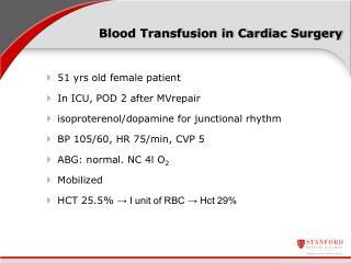 Blood Transfusion in Cardiac Surgery