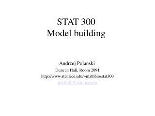 STAT 300 Model building