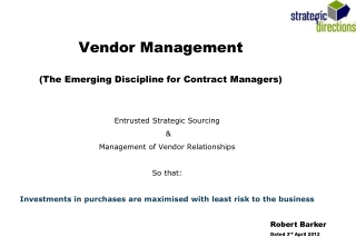 Vendor Management  The Emerging Discipline for Contract Managers