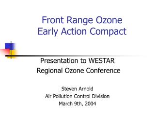 Front Range Ozone Early Action Compact