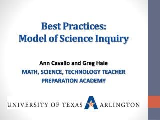 Best Practices:  Model of Science Inquiry