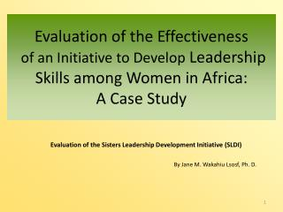 Evaluation of the Effectiveness  of an Initiative to Develop Leadership Skills among Women in Africa:  A Case Study