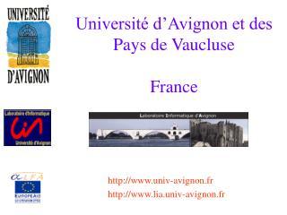 Universit  d Avignon et des Pays de Vaucluse  France