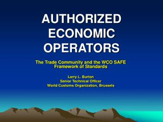 AUTHORIZED ECONOMIC OPERATORS