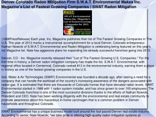 Denver Colorado Radon Mitigation Firm S.W.A.T. Environmental
