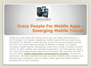 Crazy People For Mobile Apps – Emerging Mobile Trends