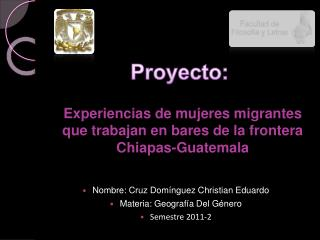 Experiencias de mujeres migrantes que trabajan en bares de la frontera Chiapas-Guatemala