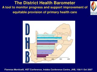 The District Health Barometer A tool to monitor progress and support improvement of equitable provision of primary healt