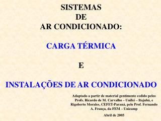 SISTEMAS DE AR CONDICIONADO:  CARGA T RMICA  E  INSTALA  ES DE AR CONDICIONADO